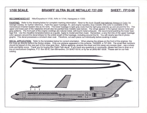 1/100 Scale Decal Braniff International 727-200 ULTRA BLUE METALLIC