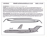 1/100 Scale Decal Braniff International 727-200 ULTRA BLUE METALLIC