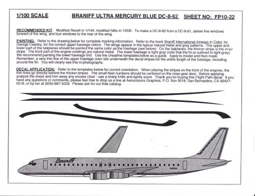 1/100 Scale Decal Braniff DC8-62 ULTRA MERCURY BLUE
