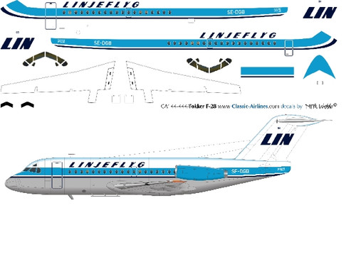 1/144 Scale Decal Linjeflyg F-28