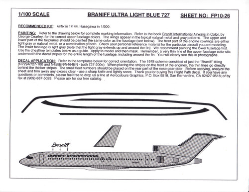1/100 Scale Decal Braniff 727-100 / 200 ULTRA LIGHT BLUE