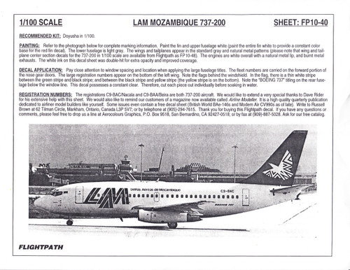 1/100 Scale Decal LAM Mozambique 737-200