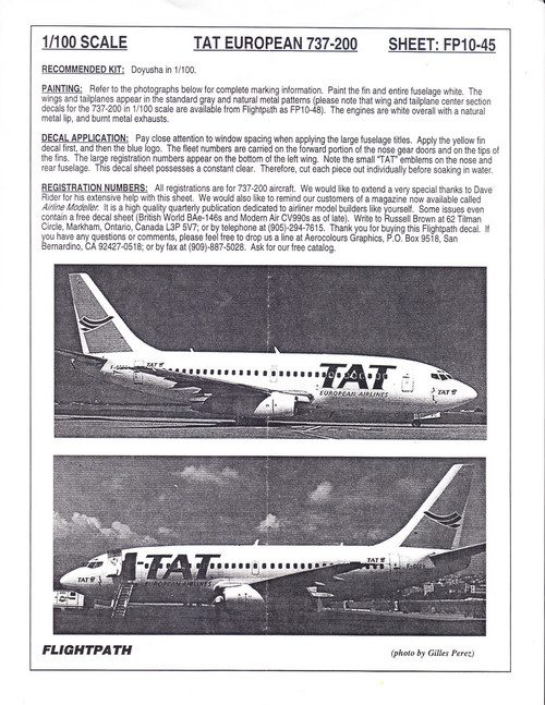 1/100 Scale Decal TAT European Airlines 737-200