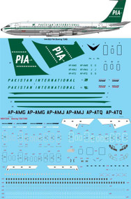 "1/144 Scale Decal PIA Pakistan International ""Early"" Boeing 720B"