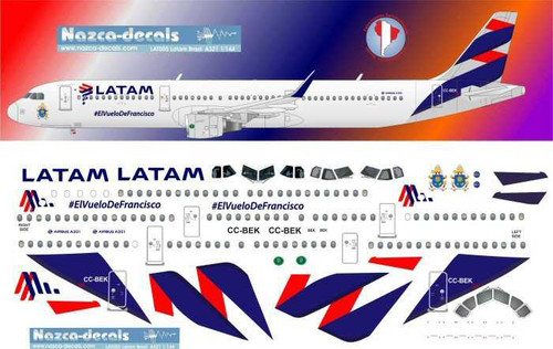 1/144 Scale Decal LATAM A-321 with Pope Titles