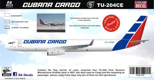 1/144 Scale Decal Cubana Cargo TU-204CE