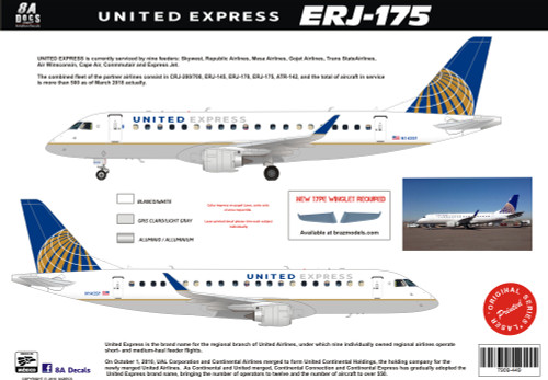 1/144 & 1/100 Scale Decal United Express ERJ-175
