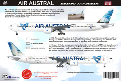 1/144 Scale Decal Air Austral 777-300 V2