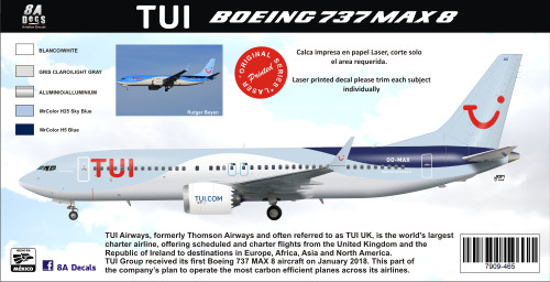 1/144 Scale Decal TUI Airways 737-800 MAX
