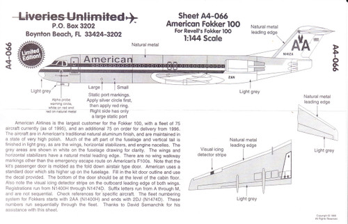 1/144 Scale Decal American F-100