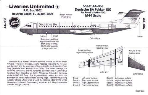 1/144 Scale Decal Deutsche BA F-100