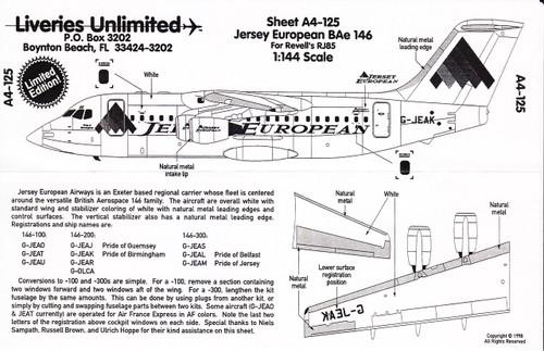 1/144 Scale Decal Jersey European BAe-146