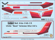1/144 Scale Decal USAir BAe-146 Rust Livery
