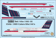 1/144 Scale Decal USAir BAe-146 1989 Livery