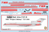 1/144 Scale Decal TWA 727-200 Project Skinny