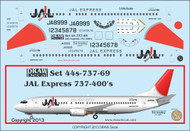 1/144 Scale Decal JAL Express 737-400