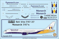 1/144 Scale Decal Monarch 757-200
