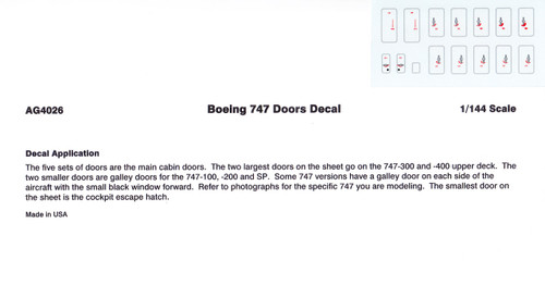 1/144 Scale Decal 747 Doors