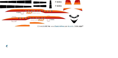 1/144 Scale Decal TAT HS-748 Orange / Red