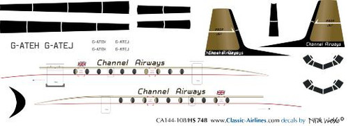 1/144 Scale Decal Channel Airways HS-748