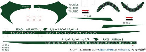 1/144 Scale Decal Iraqi Airways Trident
