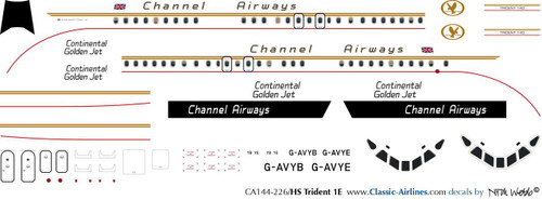 1/144 Scale Decal Channel Airways Trident