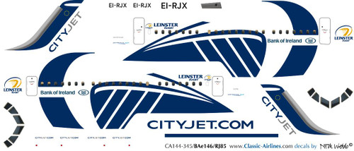 1/144 Scale Decal CityJet BAe-145 / RJ-85 Leinster Rugby
