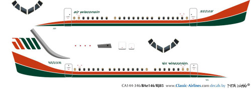 1/144 Scale Decal Air Wisconsin BAe-146