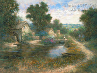 Watermill Pond 12 x 18 OE Signed by Artist - Giclee Canvas