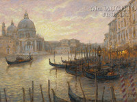 Gondolas on the Grand Canal 12x18 OE Signed by Artist - Giclee Canvas