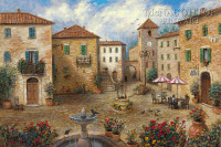 Tuscan Plaza 12x18 OE Signed by Artist - Giclee Canvas