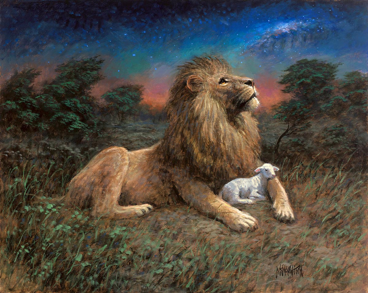 Lion and the Lamb - 24X30 Giclee Canvas, SN 100 - McNaughton Fine Art for Lion And Lamb Painting  55nar