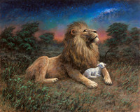 Lion and the Lamb - 24X30 Giclee Canvas, SN 100