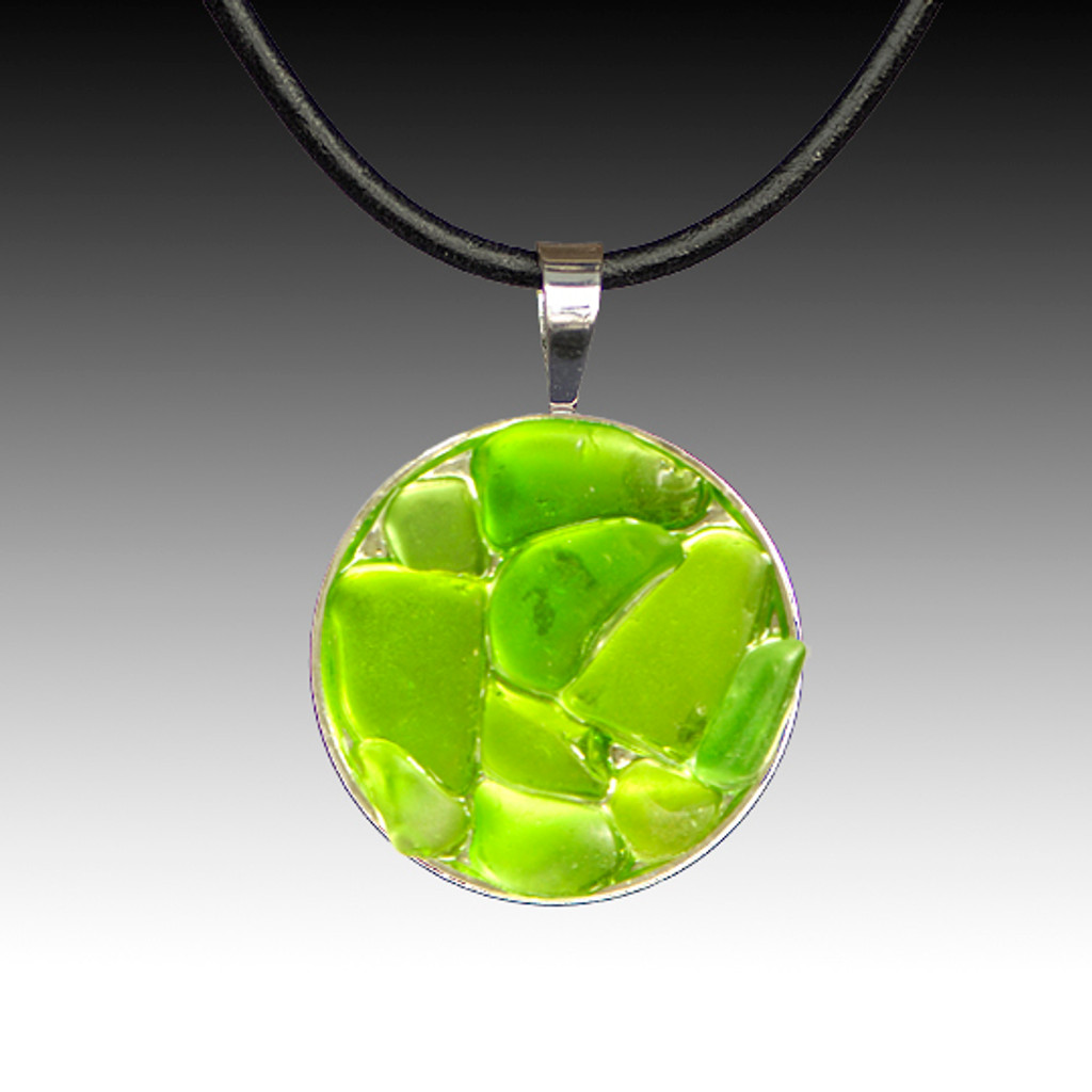 Lime Beach Glass Pendant with Leather Necklace