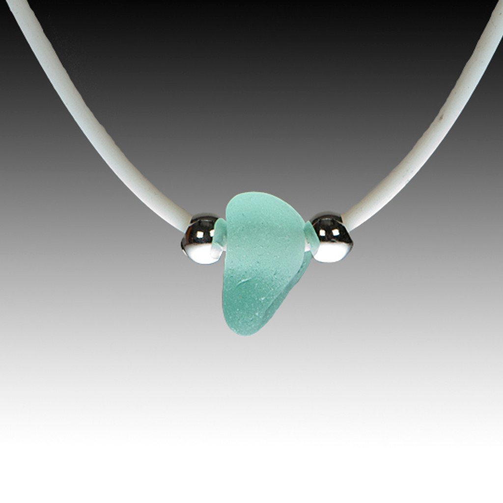 Seafoam sea glass on white rubber necklace, 16""