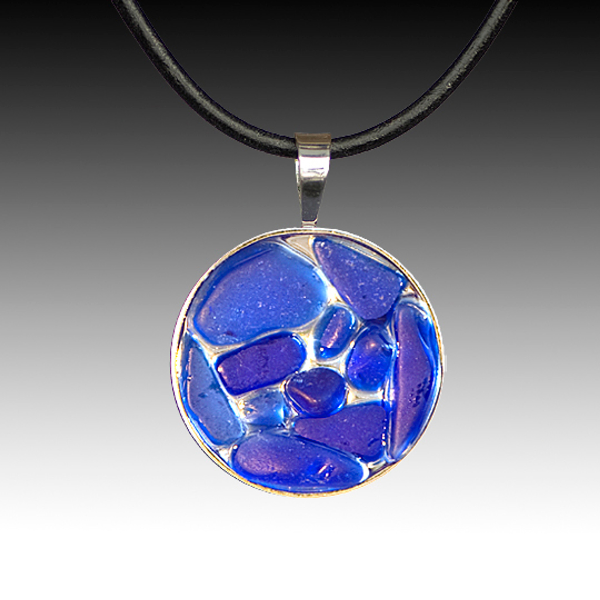 Cobalt beach glass pendant with leather necklace relish inc store cobalt beach glass pendant with leather necklace aloadofball Image collections