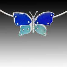 Aqua & Cobalt Beach Glass Butterfly Necklace