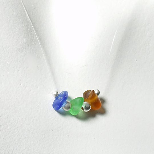 Cobalt, Green & Brown Tri-Glass Illusion Necklace