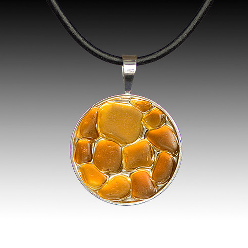 Brown Beach Glass Pendant with Leather Necklace