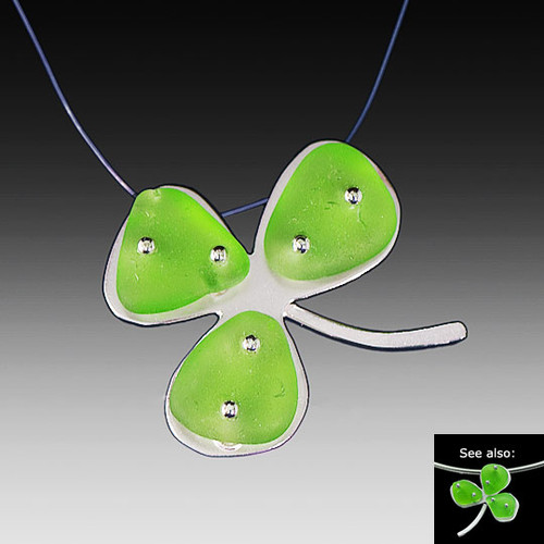Shamrock Beach Glass Illusion Necklace