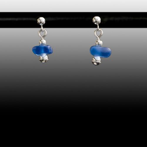 Periwinkle Sea Glass Ball Post Earrings