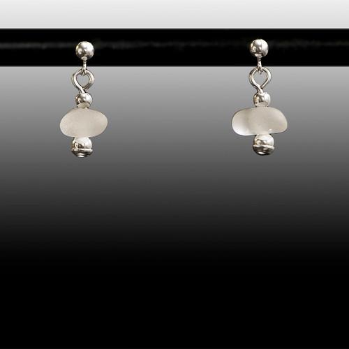 Clear Sea Glass Ball Post Earrings