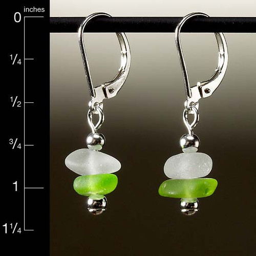 Lime with Clear Sea Glass Center Drilled Leverback Earrings