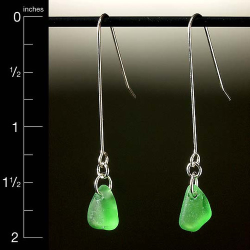 Green Beach Glass French Wire Earrings