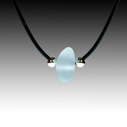 """Grey sea glass on black rubber, 16"""" necklace."""