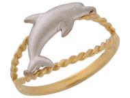 Anillo Lindo Diamantado Con Diseno De Cuerda Y Delfin En Oro De Dos Tonos (OM#10425)