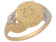 Anillo Diamantado Floral De Libra Signo Zodiaco Astrologia En Oro De 2 Tonos (OM#10447)