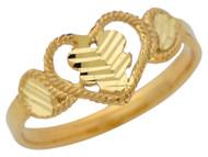 Anillo Lindo Diamantado Para Dama De Corazon Con Oja En El Centro En Oro De (OM#10481)