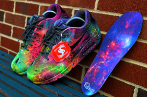Custom FootCanvas Galaxy Matching insoles Pictured here W/ Black Reflect Rope Laces