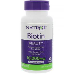 Biotin 10000 mcg 100 Tabs Natrol, for Hair, Skin, Nails, UK Store
